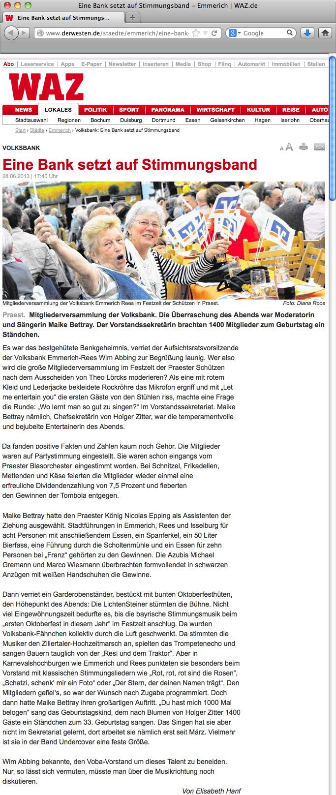 Oktoberfestband Lichtensteiner Oktoberfest Presse Emmerich